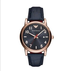 NWT EMPORIO ARMANI Blue Dial Blue leather Watch